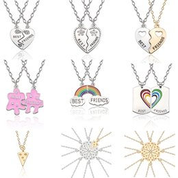 Wholesale Love Heart Best Friend Jewelry BFF Necklace Best Friends Forever Pendant Puzzle Pizza Rainbow BFF Necklaces Pendants For Women