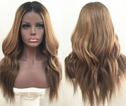 two tone wavy lace wigs 2019 - Brazilian Ombre Body Wavy Glueless Full Lace Human Hair Wigs 1B 27 Honey Blonde Two Tone Lace Front Wigs 130 Density Ble