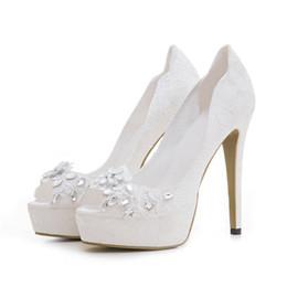 c40be6713b18 Elegant White Wedding Woman Platform Pumps Party Bridal Peep Open Toe Lady  Stiletto 12cm High Heel Embroidery Flower Rhinestone Dress Shoes