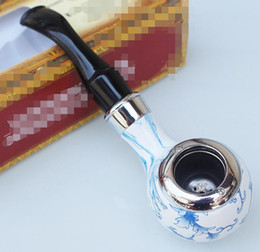 $enCountryForm.capitalKeyWord Australia - Blue and white porcelain bakelite Hand Tobacco Cigarette Smoking Pipes With Metal Bowl Gift box Filter Tools Accessories