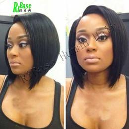 Brazilian Hair Glueless Lace Front Wigs Canada - Glueless 100% brazilian straight bob short cut human hair lace front wigs & full lace wigs bob style for black women free shipping
