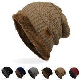 winter beanies UK - 2018 New Soft Foreign Trade Labeling Knitted Cap Velvet Wool Cap Winter Outdoor Ski Gifts Gel knitted hat Accessories knitted
