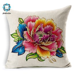 chinese pillow case covers UK - Mindirection Cotton Linen Square Throw Pillow Case Decorative Cushion Cover Pillowcase Chinese Peony Printed Flower Good Quality