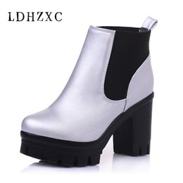 LDHZXC NEW 2018 fashion ankle boots solid boots round toe square med heels  with sewing women winter big size 9 10 11 12 2e17c01cb713