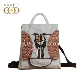 $enCountryForm.capitalKeyWord Canada - coofit Vintage National Stylish Backpack For Women Canvas Cute Owl Mini Backpack Large Capacity School With Cell Phone