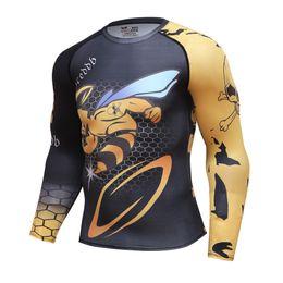 Gym Polyester T Shirt Long Sleeves NZ - olympic marseille 2018 Sport T shirt Men Rashgard Run Camiseta GYM Skinny Long Sleeve Hombre Compressed Shirt 3D Print Tops