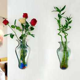 Wholesale New Vase Wall Decoration Fish tank Aquarium Mirror Acrylic Home Decoration Accessories DIY Vases Floral Wall mounted Plants