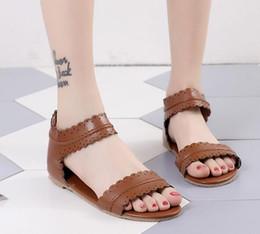 heel shoes zipper back 2019 - Hot! Womens Summer Sandals Flat Ankle Strap Casual Shoes Back Zipper Zip-up Fashion Footwear Free shipping cheap heel sh