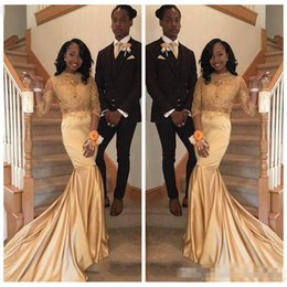 $enCountryForm.capitalKeyWord NZ - 2018 African 2K18 Gold Lace Prom Dresses for Black Girls Long Sleeves Satin Plus Size Evening Prom Gowns Vestidos