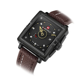 brown tempered glass UK - wengle New NAVIFORCE Selling Men calendar week fashion Tempered glass mirror Square Genuine Leather Quartz watch