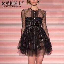 $enCountryForm.capitalKeyWord NZ - Spring 2018 Couture, Diamond Drilling Gauze Skirt, Long Sleeved T-shirt Black A-line Dress, Fashion Princess Dress Free Shipping