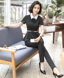 ladies wear blazers 2019 - Summer Fashion Black Striped Blazer Women Business Suit with Pant and Jacket Set Ladies Work Wear Pantsuits with Belt di