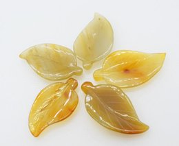 China brown carved leaf agate pendant 25*50mm FPPJ wholesale beads nature supplier carved agate beads suppliers