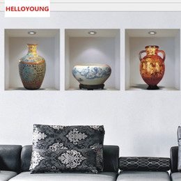 $enCountryForm.capitalKeyWord NZ - Chinese style ceramic vase vinyl wall stickers home decor decoration living room sitting room promotion 3d wall sticker