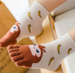 cartoon toes socks NZ - Four Seasons Children's Cotton Five finger socks Male and female babies Cartoon embroidered animal cotton toe socks 3-7-12 years old