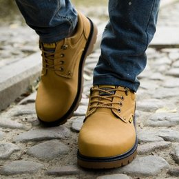 f6649c098f2 Lace-Up Men Fashion Boots EU 39-44 Durable Rubber Sole Man Nubuck Leather  Ankle Shoes Brown Yellow