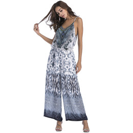 1986ce199ba Summer Chiffon Jumpsuit Beach Wide Leg Long Pants Strap Casual Rompers Women  Boho Sexy Backless Loose Overalls Elegant Playsuits
