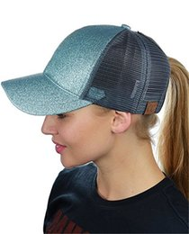 2018 Women CC Ponytail Baseball Cap Sequins Messy Bun Dad Hats Summer  Snapback Mesh Trucker Hat Casual Girls Hip Hop Adjustable Caps a8a60ab515bb