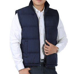 zipper vests NZ - Winter Man Casual Puffer Vest Black Navy Blue Plain Quilted Waistcoat Men Zipper Puff Vests Male Warm Lightweight Waistcoat Wear
