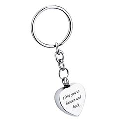 $enCountryForm.capitalKeyWord NZ - I love you to heaven and back heart Pendant Cremation Urn Key chain Memorial Keepsake Ashes Jewelry