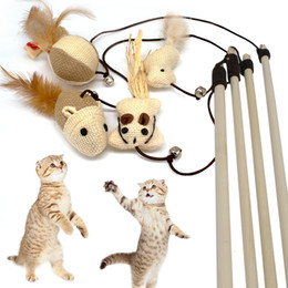 $enCountryForm.capitalKeyWord NZ - Funny Mouse Cat Toy Teaser Wand Feather Playing Cat Toys For Cats Kitten Plush Ball Interactive Scratch Stick Pet Cat Supplies
