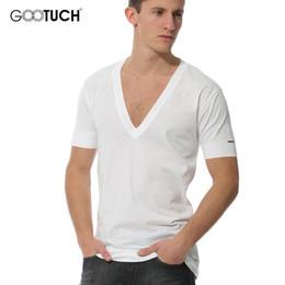 2017 Summer Modal Deep V Neck Men's Undershirts Short Sleeve Undershirt Men White T-Shirt Plus Size 4XL 5XL 6XL Top Tees G-3003 on Sale