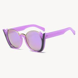 b8c168fdd41 Vintage Fashion Cat Eye Sun Glasses Women UV400 Quality lunette Oversized  Ladies hlaf frame Sunglasses Women Brand Designer Eyeglasses