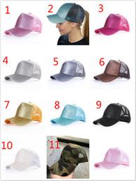 30pcs Glitter Ponytail breathable mesh baseball cap men s ladies bag summer  truck Gorras shiny gold shining ladies hat C1 203f9d6b16c4