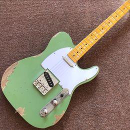 $enCountryForm.capitalKeyWord Canada - Free Shipping custom shop TELE 6 Strings Maple fingerboard Electric Guitar green color elecaster guitaar relics by hands guitarra guitars