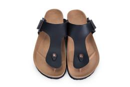 77901286fb72a Men and Women Slide Sandal Buckle Slip On Slippers Comfort Cork Footbed  Women s Gizeh Cork Thong Ankle Buckle black matte Sandal