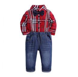 ab1bdca5 Toddler Boys Clothing Set Gentleman Suit Kids Red Bow Tie Plaid Shirt+Straps  Jeans Pant Children Autumn Outfits