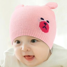 ff8e9f1e1f9 designer kids winter hats love pink newborn corchet hats cc beanies cotton  caps printed cartoon bear baby hats 0-5T