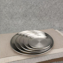 Wholesale 5 Size Stainless Steel Dinner Dish Flat Plate Kitchen Tableware Dinnerware Restaurant Severing Tray