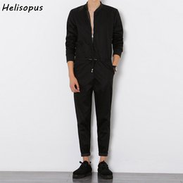1f4049ab5e Helisopus 2018 Mens Overalls Rompers With Zipper Harem Bib Pants Male Long  Sleeved One-Piece Skinny Black Jumpsuit Asian size