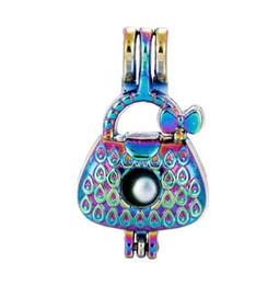 Wishing Pendant UK - 5pcs lot Rainbow Color Handbag Pearl Beads Cage Locket Pendant Pearl Locket Fairytale Party Wish Gift for Women C44