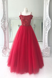$enCountryForm.capitalKeyWord NZ - High Quality Red Pearls Sequin Evening Prom Dresses Cheap 2018 Cold Shoulder with Straps A line Tulle Long Crystal Ruched Pageant Dress Gown