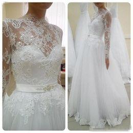 $enCountryForm.capitalKeyWord Australia - Modest Arabic Long Sleeve Wedding Dresses Plus Size 2018 High Neck Lace Ribbon Sash A Line Country Berta Bridal Gowns Beach Vintage Vestido