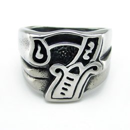 316l Ring Mix NZ - Free Shipping ! Punk Steel color 316L Stainless Steel Seven Ring Rock Number 7 Men's Skeleton Rings Jewelry