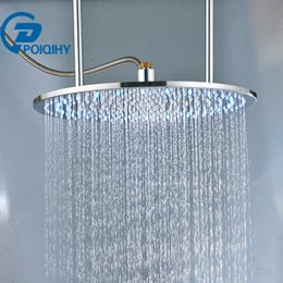 $enCountryForm.capitalKeyWord Australia - POIQIHY 20'' Shower Head with LED Chrome Brushed ORB Square & Round Ceiling Mounted Shower Heads Rainfall Head