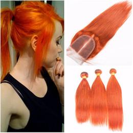 Silky Brazilian Human Hair Extensions Australia - Silky Straight Orange Human Hair Extensions With Top Closure Pure Orange Color Virgin Brazilian Hair Weaves 3 Bundles with 4x4 Lace Closure