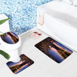 machines houses 2019 - 3pcs Bath Rug Set Microfiber Mat Animals Printed Toilet Mat Deer River Trees House Pattern Bathroom Carpet Bathroom Prod