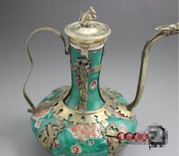 Ancient fAn online shopping - Ancient Exquisite Antique Tibet Silver Green Porcelain quot good health quot Word Teapot decoration Tibetan Silver word bronze