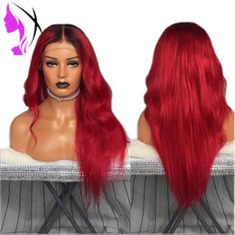 $enCountryForm.capitalKeyWord Australia - Fashion two tone Simulation Human Hair Wig body Wave Wigs With middle part ombre red color synthetic lace front wig for black women