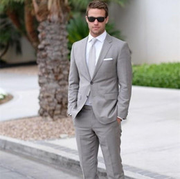 Tie For Gray Suit NZ - Light Gray Mens Wedding Suits Slim Fit Bridegroom Tuxedos For Men Two Pieces Groomsmen Suit Cheap Formal Business Suit (Jackets+Tie+Pant)