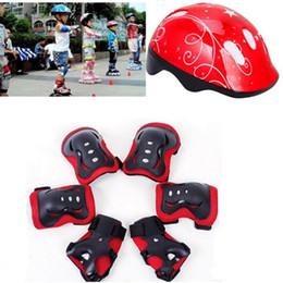 Skateboards Gear NZ - 7Pcs Children Elbow Wrist Knee Pads Bicycle Helmet Children Sports Safety Protective Gear Skateboard Skate (Pink)