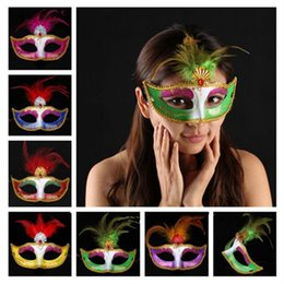 cartoon face paint mask NZ - Colorful Painting Feather Mask Women Lady Girls Half Face Ball Masks Masquerade Mardi Gras Party Supplies