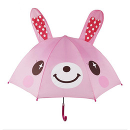 3d umbrella wholesale NZ - Cute 3D Umbrella Cartoon Children Umbrella Sun and Rainy Creative Parasol for Boys Girls Long Handle Style School Child Gift