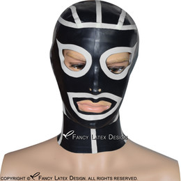 $enCountryForm.capitalKeyWord NZ - Black With White Ninja Sexy Latex Hood With Stripe Zip At Back Open Eyes Mouth Nostril Rubber Mask Plus Size TT-0125