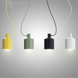 yellow green pendant lights NZ - Modern Small Aluminium Dining room Kitchen Kid's room Pendant lamps lights Green Yellow Black White Nordic Suspended Lights E26 E27 1 Light