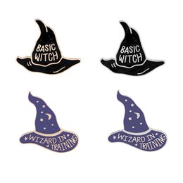 China Enamel Pin Badge Brooch Basic Witch Hat Wizard In Training Magic Warlock Halloween Creepy Gothic Enamel Lapel Pins suppliers